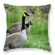 Goose Warning Throw Pillow