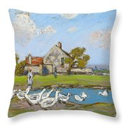 Goose Girl At Sablons Throw Pillow