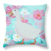 Goose On Floral Background Throw Pillow