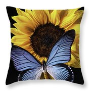 Gorgeous Blue Butterfly Throw Pillow