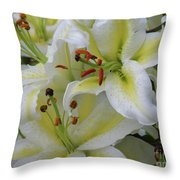 Gorgeous Cluster Of Blooming White Lilies In A Bouquet Throw Pillow