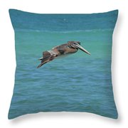 Gorgeous Grey Pelican With His Wings Extended In Flight  Throw Pillow