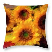 Gorgeous Lovely Sunflowers Throw Pillow