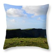 Gorgeous Seascape Along The Cliffs Of Moher In Ireland Throw Pillow