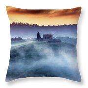 Gorgeous Tuscany Landcape At Sunrise Throw Pillow