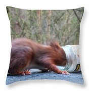 Gorging Squirrel Throw Pillow