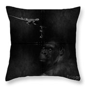 Gorilla And Lizard Throw Pillow