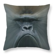 Gorilla Freehand Abstract Throw Pillow