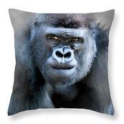 Gorilla In The Mist Wall Art Throw Pillow by David Millenheft