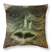 Gorilla In The Zoo Throw Pillow