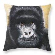 Gorilla On Wood Throw Pillow