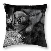 Gorilla Pose Throw Pillow