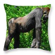 Gorilla Posing Throw Pillow