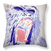 Gorilla Roars Throw Pillow