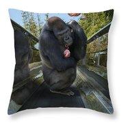 Gorilla With Lollipop Throw Pillow