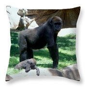 Gorillas Mary Joe Baby And Emonty Mother 6 Throw Pillow