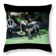 Gorillas Mary Joe Baby And Emonty Mother 7 Throw Pillow