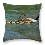 Goslings In A Row Throw Pillow