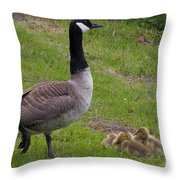 Goslings With Mother Goose Throw Pillow