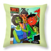 Gossips At The Greengrocer's Throw Pillow