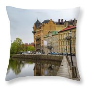 Gothenburg Canal And Park Throw Pillow