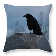 Gothic Blue Sky And Crow Throw Pillow