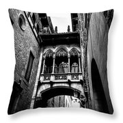 Gothic Bridge In The Gothic Quarter Of Barcelona Throw Pillow