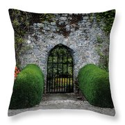 Gothic Entrance Gate, Walled Garden Throw Pillow