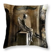 Gothic Surreal Angel With Gargoyles And Ravens  Throw Pillow
