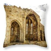 Gothic Temple Ruins - San Domingos - Vintage Version Throw Pillow
