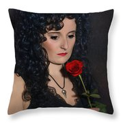 Gothic Woman With Rose Throw Pillow