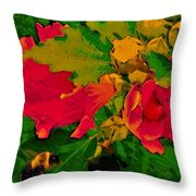 Gouache Painting Flower And Bumble Bee Throw Pillow