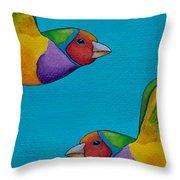 Gouldian Finches Throw Pillow