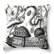 Gourd Fairy House With Snail And Preying Mantis Throw Pillow