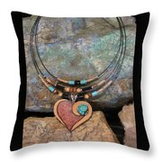Gourd Heart With Turquoise #h92 Throw Pillow