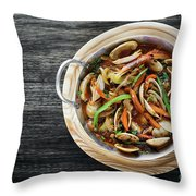 Gourmet Clam And Vegetable Seafood Stew In Spicy Tomato Sauce Throw Pillow