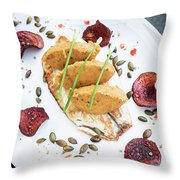 Gourmet Fish Fillet With Chickpea Curry Puree Meal Throw Pillow