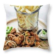 Gourmet Fried Octopus Calamari Style Set Meal With Fries Throw Pillow