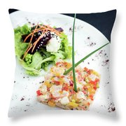 Gourmet Raw Tuna Tartare Ceviche With Mango Lime And Chilli Throw Pillow