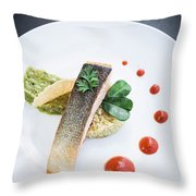 Gourmet Salmon Fish  Fillet With Rice And Guacamole Meal Throw Pillow