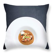 Gourmet Stuffed Squid With Vegetables In Pumpkin Curry Puree Throw Pillow