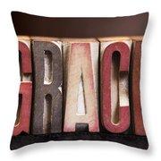 Grace - Antique Letterpress Letters Throw Pillow
