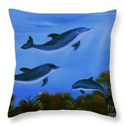 Graceful Dolphins At Play. Throw Pillow