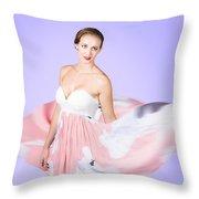 Graceful Dreamy Dancing Girl In Pink Dress Throw Pillow