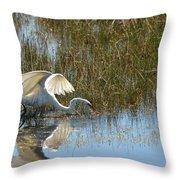 Graceful Great Egret Throw Pillow
