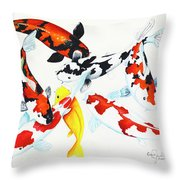 Graceful Koi Throw Pillow
