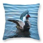 Graceful Muscovy Duck Throw Pillow
