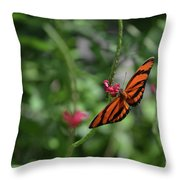 Graceful Oak Tiger Butterfly Around Pink Flowers Throw Pillow