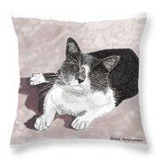 Gracie Jacks Cat Now Throw Pillow