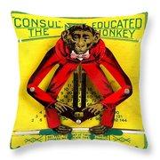Graduation Monkey Throw Pillow
